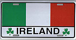 Irish Tricolor Metal Driving License Plate