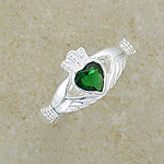 Emerald CA Silver Irish Claddagh Ring