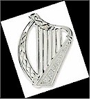 Silver White Harp Irish Brooch