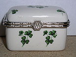 Ceramic Small Cute Trinket Box (Shamrock design)