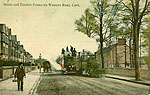 Cork - Cork City - Steam and Electric Trams on Western Road (old colour Irish photo)