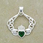 Stylish Emerald Claddagh Bracelet (.925 sterling silver)
