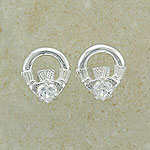 Cz SilverCladdagh Stud Earrings