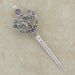 Celtic Amethyst Silver Sword Brooch