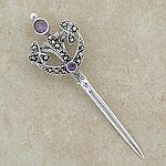 Celtic Amethyst Silver Sword Brooch (purple gemstone)