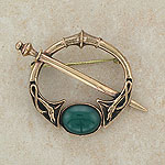 Elegant Carnelian Bronze Brooch