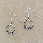 Celtic Looped Silver Earrings