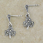 Silver Shamrock Drop Stud Earrings w/marcasite