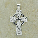 Shiny Celtic Pattern Cross Pendant (made from sterling silver)