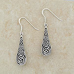 Oblong Celtic Knot Silver Earrings