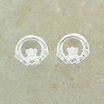 Nice Claddagh Silver Stud Earrings