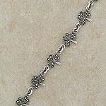 Marcasite Irish Silver Shamrock Bracelet (.925 sterling silver)