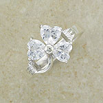 CZ Sparkly Shamrock Sterling Silver Ring