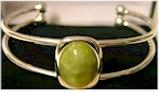Silver Plated Gemstone Bangle (Irish Connemara Marble)
