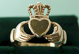 Ladies Connemara Marble Claddagh Ring