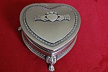 Large Heart Claddagh Jewelry Box with legs (By Mullingar Pewter)