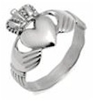 Ladies Silver Celtic Irish Claddagh Ring (With Celtic Band)