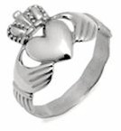Gents Silver Irish Claddagh Ring (With Celtic Band Design)