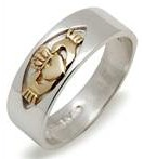 Silver & 14K Gold Gents Claddagh Ring