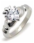Silver & CZ Simulant Diamond Claddagh Ring