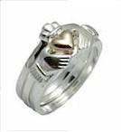 Silver & 14K Gold 3 Piece Claddagh Ring (Innovative claddagh ring)