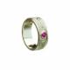 Ladies Celtic Shield pattern Wedding Ring with three .10ct rubies