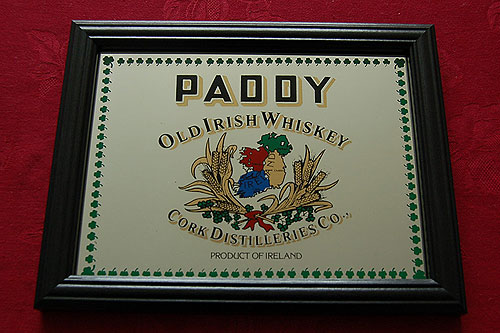 Paddy Irish Whiskey Pub Bar Mirror Vintage