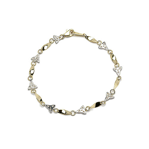 10K Y/W Gold Trinity Knot Design Bracelet (19cm Gold Bracelet Irish Handcrafts)