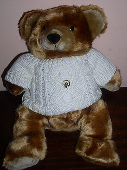 Irish Teddy Bear Cuddly Toy in Aran Jumper