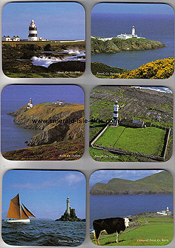 Irish Lighthouses Set Of 6 Hardwood Quality Coasters