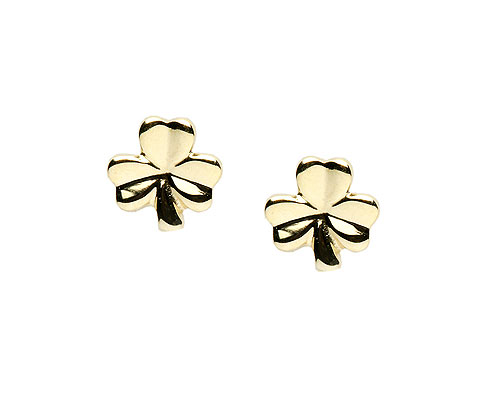 10K Gold Small Shamrock Design Stud Earrings