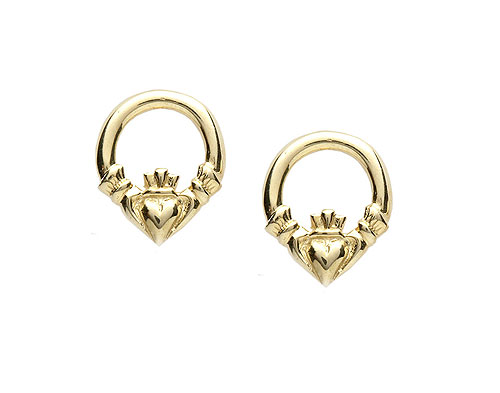 10k Gold Small Claddagh Stud Earrings