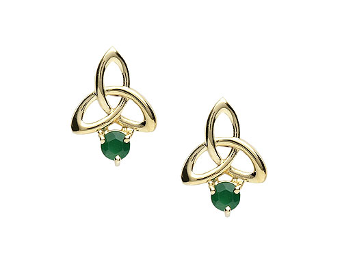 10K Gold & Green Agate Trinity Knot Stud Earrings
