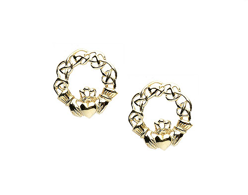 Gold 10K Claddagh Celtic Knot Pure Earrings