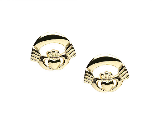 10K Gold Nua Claddagh Design Stud Earrings
