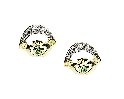 10K  Gold CZ / Agate Set Claddagh Earrings Irish
