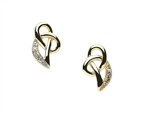 10K Gold & CZ Celtic Knot Design Earrings