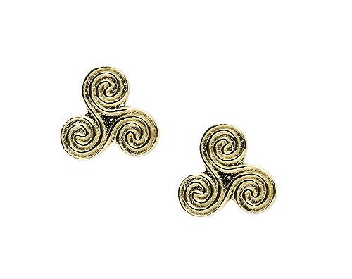 10K Gold Celtic Triskele Swirl Design Earrings