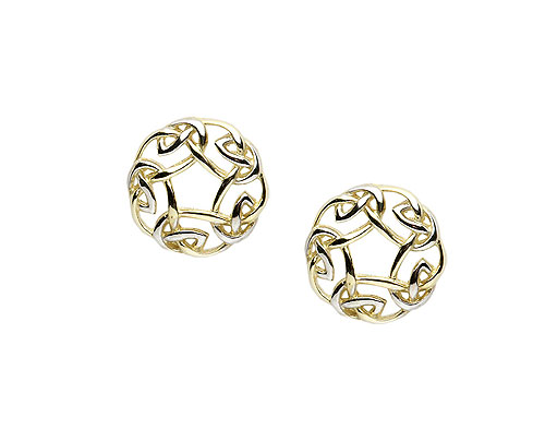 10K Y/W Gold Celtic Design Stud Earrings