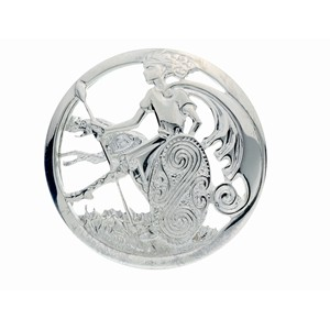 Irish Silver brooch inspired by Cuchulainn and his Irish wolfhound.