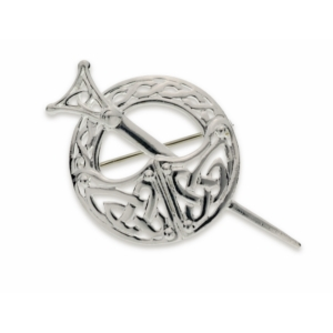Medium Silver Tara brooch with Celtic knotwork