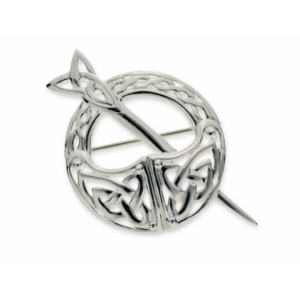 Large Silver Irish Tara brooch with Celtic knotwork