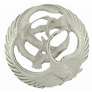 Four Swans Sculpted sterling silver Brooch