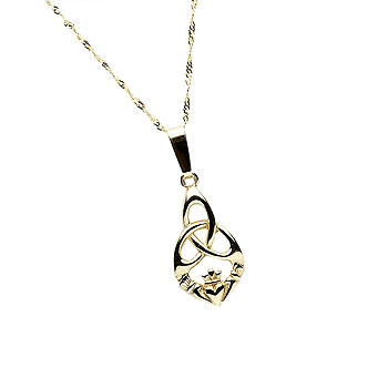 10K Gold Trinity Knot Design Claddagh Pendant
