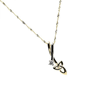 10K Y/W Gold CZ Trinity Knot Design Pendant