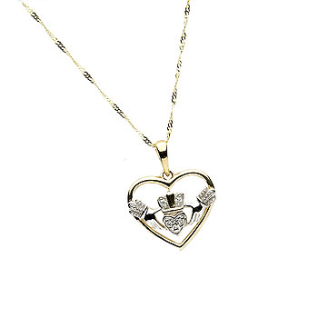 10K Gold CZ Claddagh Design Pendant