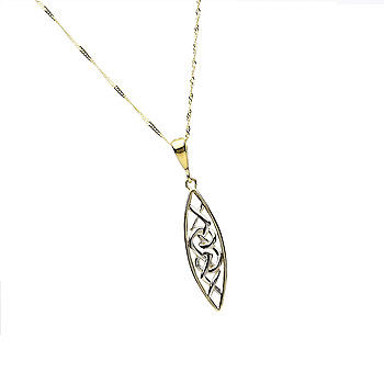 10K Gold Y/W Trinity Knot Design Pendant