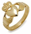 Gents 10K Gold Irish Claddagh Heavy Celtic Ring