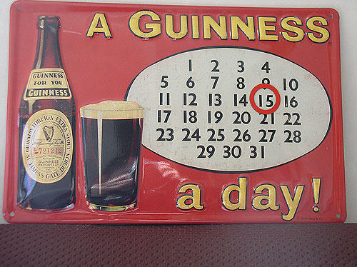 Guinness Metal Advertising A Guinness A Day Calendar