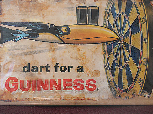 Guinness Metal Advertising Sign Dart For A Guinness